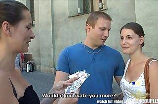 CZECH COUPLES Young amateur Couple Takes Money for Public Foursome