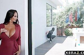 Gigantic boobs MILF catches panty thief and fucks him