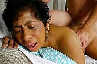 Beautiful black old spunker loves cum all over her nice big tits