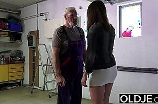Old man fucks young blonde girl his small cock then fucks her mouth and pussy