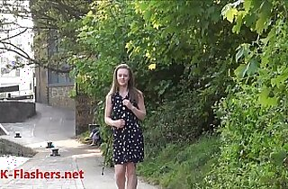 Sexy petite teen flasher Lauras amateur public nudity and voyeur exposure of small tits