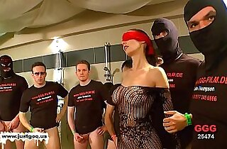 German Goo Girls Blindfolded MILF bukkake gangbang