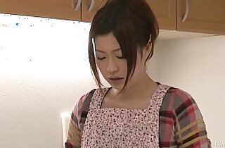 Riko has a dildo dream in her kitchen and uses toys to cum