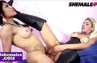 Lesbian transsexuals doggystyle buttfucking