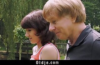 Young young Girl gives Blowjob For Old Man And Swallows