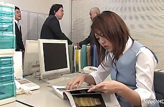 Japanese in stockings gets face fucked in the office