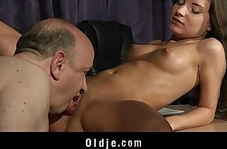 Old teacher fucking young slutty babe