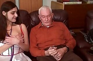 young brunette first time with grandpa