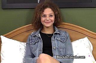 Cute brunette Teen Ambushed by Black Cock