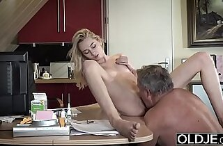Young porn Martha gives grandpa a blowjob and has sex with his old dick