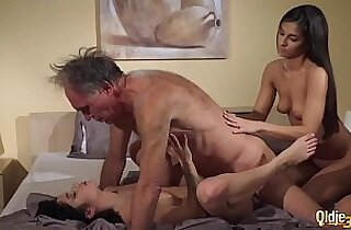 Old Young Teens share old man and ride his wrinkled cock swallow cum