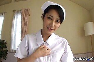 Asian nurse sucking and fucking hard on a fat dick pov