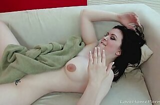 Beautiful black haired babe in stockings gets penetrated