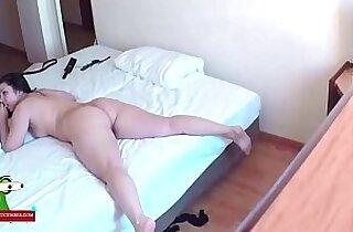 Hidden cam in a hotel room.