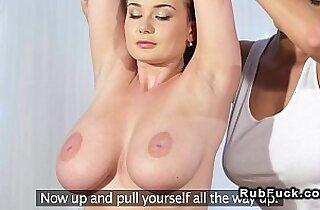 Huge boobs lesbians in massage room